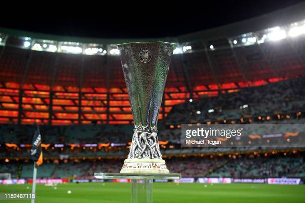 A detailed view of the Europa League Trophy is seen prior to the UEFA Europa League Final between Chelsea and Arsenal at Baku Olimpiya Stadionu on...