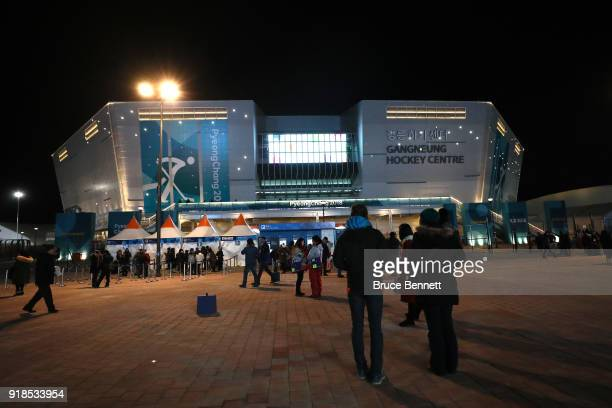 A detailed view of the exterior of the arena prior to the Men's Ice Hockey Preliminary Round Group A game between Czech Republic and Republic of...