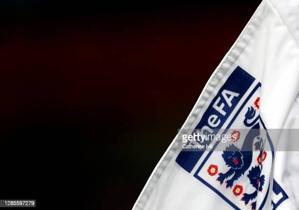 Detailed view of The FA logo and England badge on the corner flag ahead of the UEFA Euro Under 21 Qualifier match between England U21 and Andorra U21...