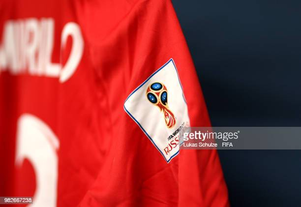 A detailed view of the FIFA badge on a shirt is seen inside the Panama dressing room prior to the 2018 FIFA World Cup Russia group G match between...