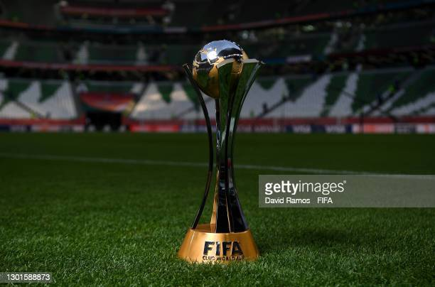 Detailed view of the FIFA Club World Cup trophy prior to the FIFA Club World Cup Qatar 2020 Final between FC Bayern Muenchen and Tigres UANL at the...
