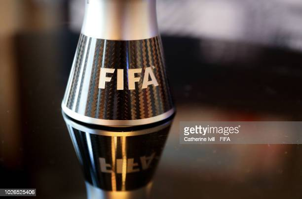 Detailed view of the FIFA logo on the trophy during The Best FIFA Football Awards 2018 Press Conference on September 3 2018 in London England
