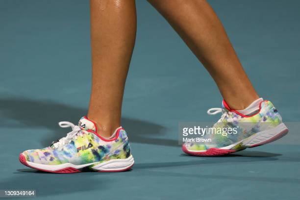 Detailed view of the Fila shoes worn by Sofia Kenin of the United States during her women's singles second round match against Andrea Petkovic of...