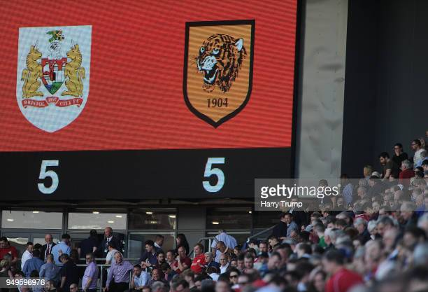 Detailed view of the final score reading Bristol City 55 Hull City during the Sky Bet Championship match between Bristol City and Hull City at Ashton...