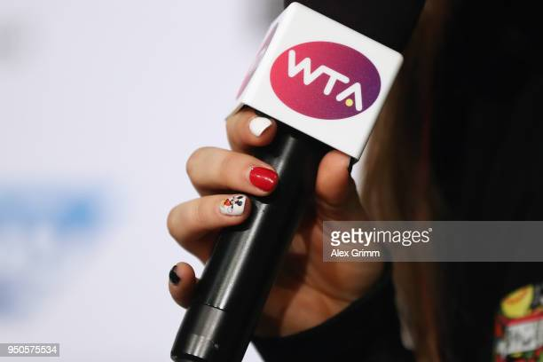 A detailed view of the finger nails of Jelena Ostapenko of Latvia as she talks to the media during day 2 of the Porsche Tennis Grand Prix at...