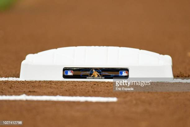 A detailed view of the first base bag used for the game between the Philadelphia Phillies and Miami Marlins for Roberto Clemente Day at Marlins Park...