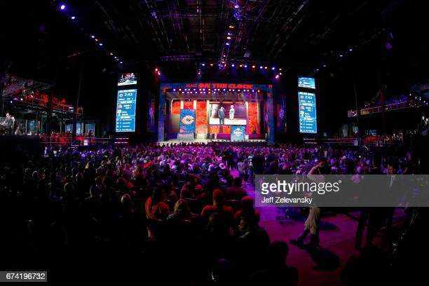 A detailed view of the first round of the 2017 NFL Draft at the Philadelphia Museum of Art on April 27 2017 in Philadelphia Pennsylvania