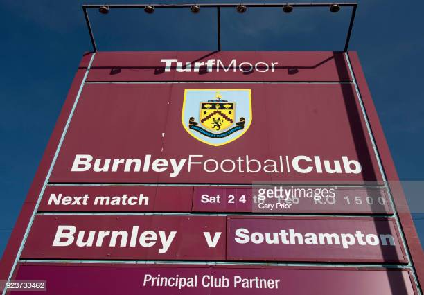 A detailed view of the fixture board outside the stadium prior to the Premier League match between Burnley and Southampton at Turf Moor on February...