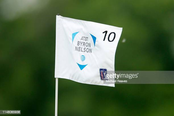 A detailed view of the flag on the 10th hole during the first round of the ATT Byron Nelson at Trinity Forest Golf Club on May 09 2019 in Dallas Texas