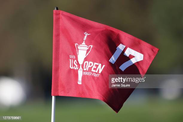 Detailed view of the flag on the 17th green is seen during the final round of the 120th U.S. Open Championship on September 20, 2020 at Winged Foot...