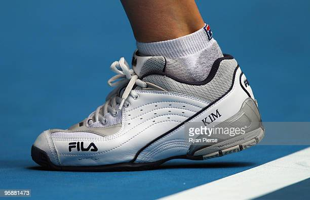A detailed view of the footwear of Kim Clijsters of Belgium in her second round match against Tamarine Tanasugarn of Thailand during day three of the...