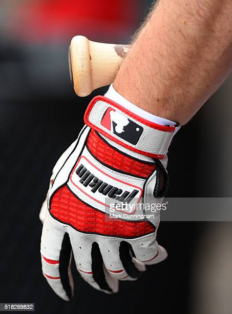 A detailed view of the Franklin batting glove worn by Scott Sizemore of the Washington Nationals during the Spring Training game against the Detroit...