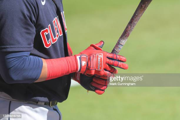 A detailed view of the Franklin batting gloves worn by Carlos Santana of the Cleveland Indians as he bats during the game against the Detroit Tigers...