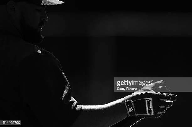 A detailed view of the Franklin batting gloves worn by Nevin Ashley of the New York Mets during a spring training game against the Atlanta Braves at...