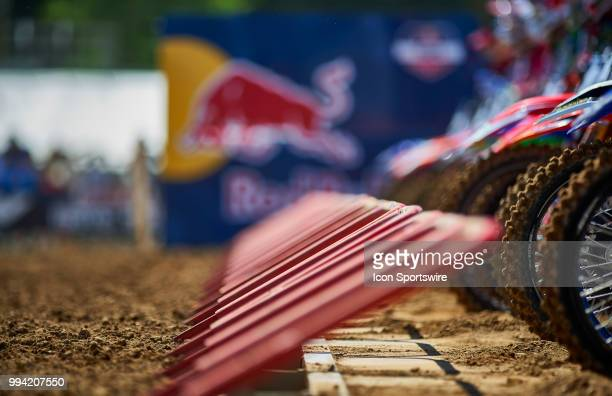 A detailed view of the front tires of all the MX bikes at the starting line of the 250 Class Moto in action during the 2018 Red Bull RedBud National...