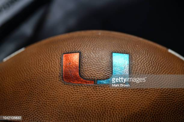 A detailed view of the game ball used by Miami Hurricanes before the game against the North Carolina Tar Heels at Hard Rock Stadium on September 27...