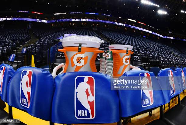 A detailed view of the Gatorade coolers sitting behind the Golden State Warriors bench prior to the start of an NBA basketball game between the...