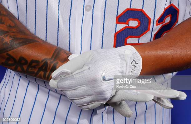 A detailed view of the gloves worn by Dominic Smith of the New York Mets poses for a photo during photo days at First Data Field on February 21 2018...