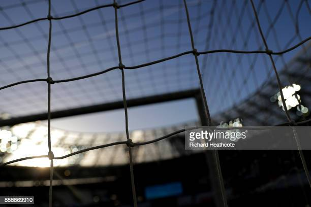 Detailed view of the goal net prior to the Premier League match between West Ham United and Chelsea at London Stadium on December 9 2017 in London...
