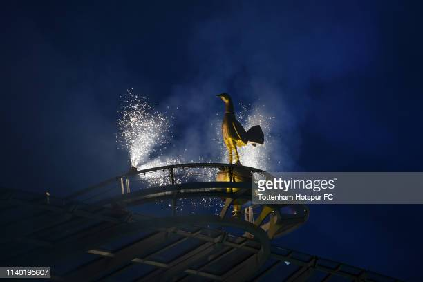 A detailed view of the Golden cockerel statue on top of the stadium prior to duri the Premier League match between Tottenham Hotspur and Crystal...