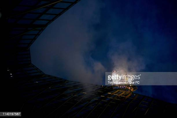 A detailed view of the Golden cockerel statue on top of the stadium prior to the Premier League match between Tottenham Hotspur and Crystal Palace at...
