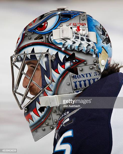 A detailed view of the graphics on the mask of Goaltender Al Montoya of the Winnipeg Jets prior to the game against the Florida Panthers at the BBT...