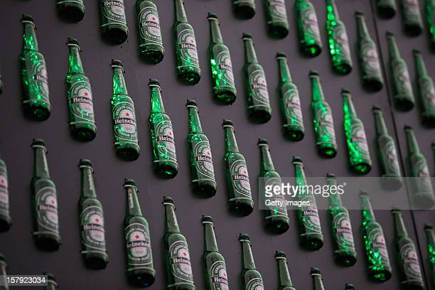 A detailed view of the Heineken Light Installation at Heineken Experience on December 7 2012 in Amsterdam Netherlands Heineken marks its 140year...