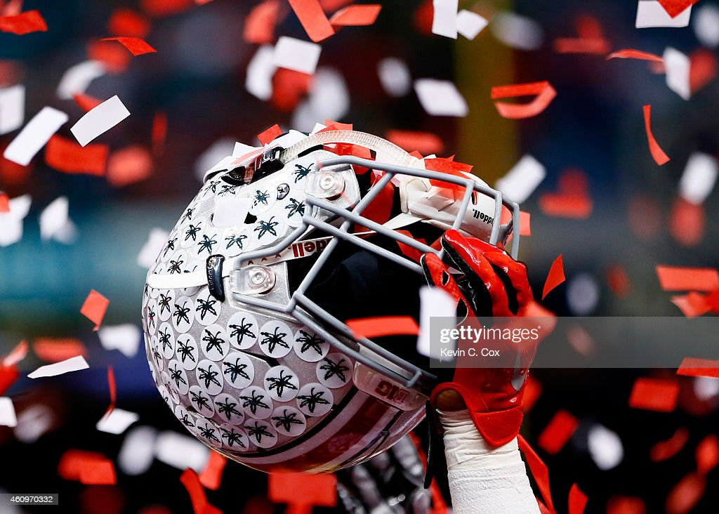A detailed view of the helmet of Armani Reeves #26 of the Ohio State Buckeyes celebrating after defeating the Alabama Crimson Tide in the All State Sugar Bowl at the Mercedes-Benz Superdome on January 1, 2015 in New Orleans, Louisiana. The Ohio State Buckeyes defeated the Alabama Crimson Tide 42 to 35.