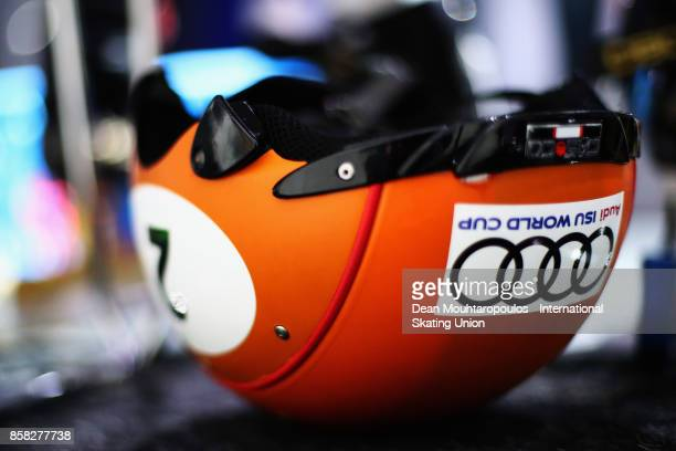 A detailed view of the helmet worn by Sjinkie Knegt of the Netherlands before he competes in the Mens 1000m Preliminaries during the Audi ISU World...