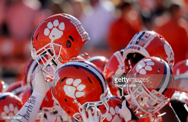 A detailed view of the helmets of the Clemson Tigers before their game against the Louisville Cardinals at Clemson Memorial Stadium on November 3...