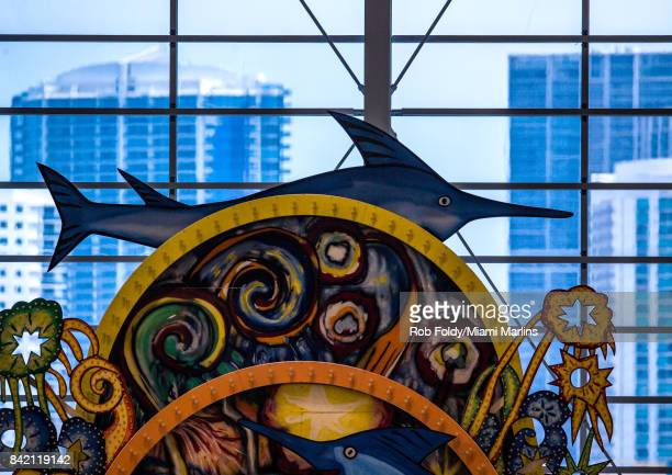 A detailed view of the home run sculpture during the game between the Miami Marlins and the San Francisco Giants at Marlins Park on August 16 2017 in...