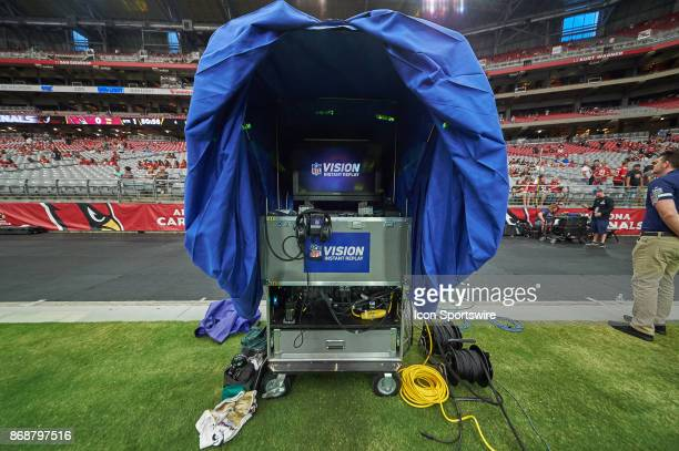 A detailed view of the inside of the NFL Vision Instant Replay booth is seen with a set of Bose headset is seen during the NFL game between the...