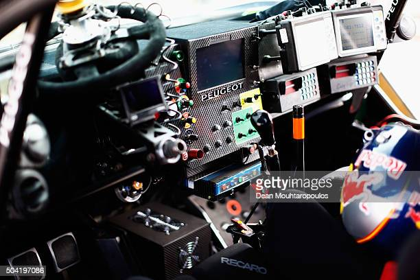 A detailed view of the interior control panel dash and steering wheel of Carlos Sainz of Spain and Lucas Cruz of Spain in the PEUGEOT 2008 DKR for...
