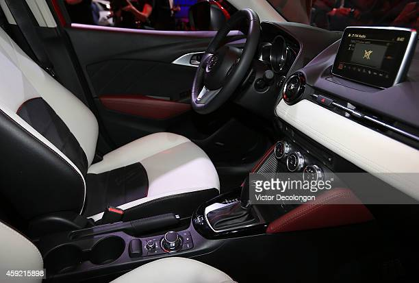 A detailed view of the interior of the Mazda CX3 on November 18 2014 in Hollywood California Mazda Motor Corporation today revealed the allnew Mazda...