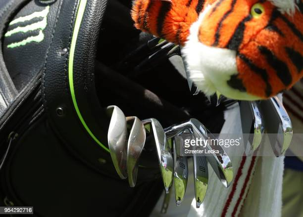 A detailed view of the irons played by Tiger Woods during the first round of the 2018 Wells Fargo Championship at Quail Hollow Club on May 3 2018 in...