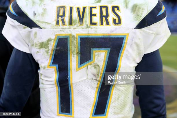 A detailed view of the jersey of Philip Rivers of the Los Angeles Chargers after defeating the Baltimore Ravens after the AFC Wild Card Playoff game...