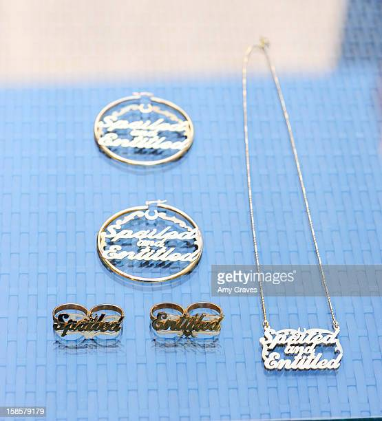 A detailed view of the jewelry in television personality Josie Goldberg's Spring 2013 Spoiled and Entitled clothing jewelry and chocolate collection...