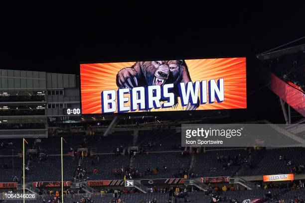 A detailed view of the jumbotron at Soldier Field displaying a Bears Win sign is seen after game action during a NFL game between the Chicago Bears...