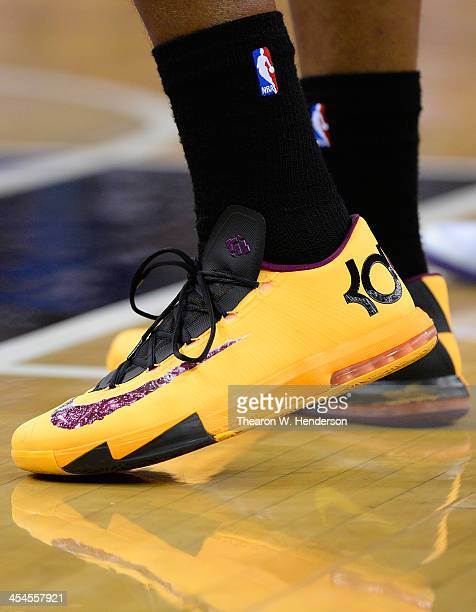 A detailed view of the 'Kevin Durant' Nike basketball shoes worn by Shawne Williams of the Los Angeles Lakers against the Sacramento Kings at Sleep...