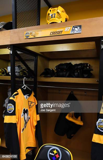 A detailed view of the locker for Sidney Crosby of the Pittsburgh Penguins at the 2017 Coors Light NHL Stadium Series at Heinz Field on February 22...