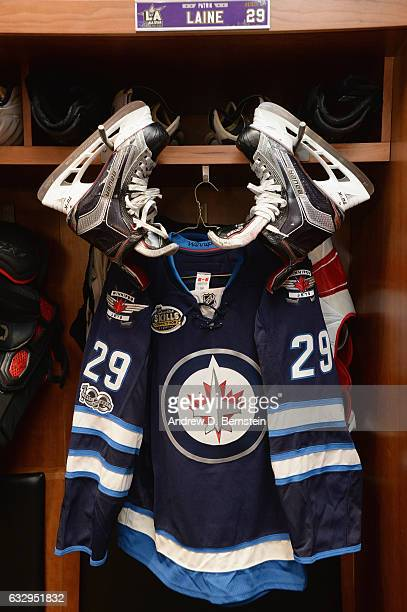 A detailed view of the locker room stall of Patrik Laine of the Winnipeg Jets is seen prior to the 2017 Coors Light NHL AllStar Skills Competition at...