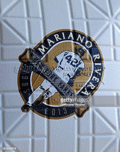 A detailed view of the logo printed on the bases honoring the retirement of Mariano Rivera of the New York Yankees used for the game against the San...