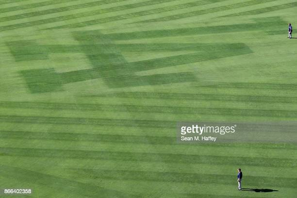 A detailed view of the Los Angeles Dodgers logo in the outfield prior to game two of the 2017 World Series between the Houston Astros and the Los...