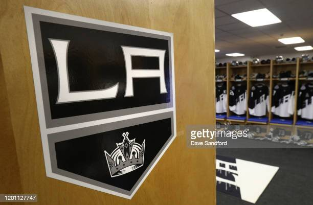 A detailed view of the Los Angeles Kings logo is seen in the locker room prior to the 2020 NHL Stadium Series game between the Los Angeles Kings and...