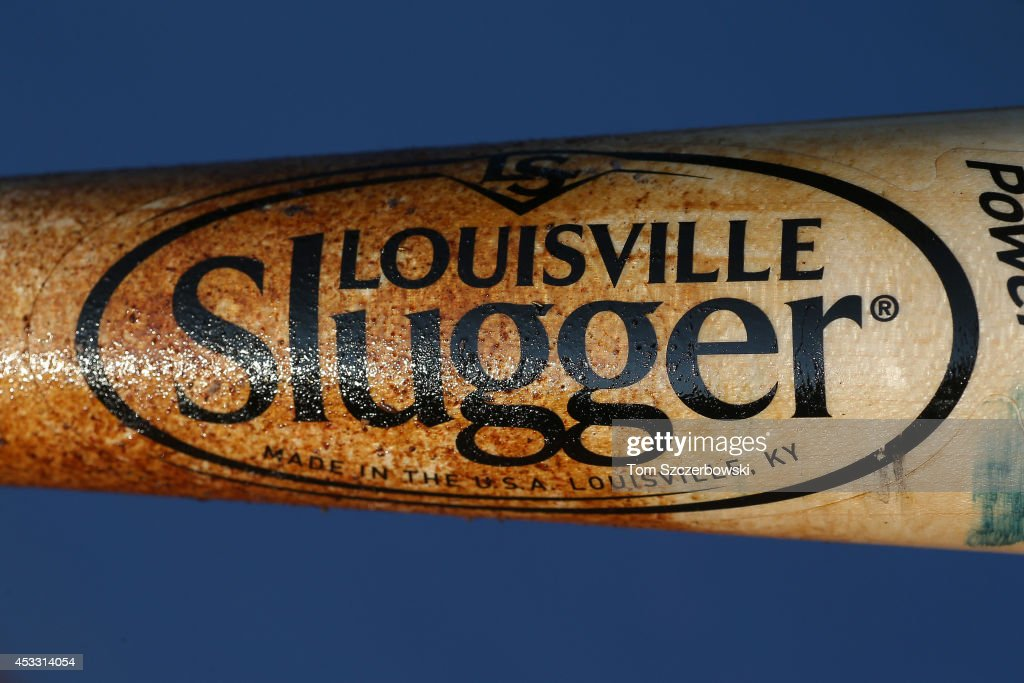 A detailed view of the Louisville Slugger bat belonging to Daniel Robertson #19 of the Texas Rangers before the start of MLB game action against the Toronto Blue Jays on July 18, 2014 at Rogers Centre in Toronto, Ontario, Canada.