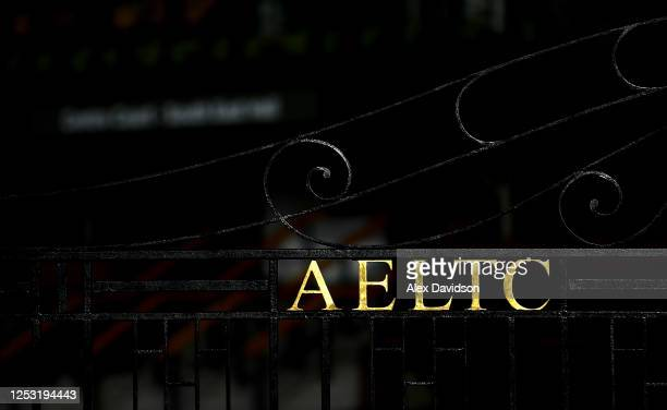 A detailed view of the main gate at The All England Tennis and Croquet Club on June 29 2020 in Wimbledon England The Wimbledon Tennis Championships...