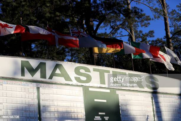 A detailed view of the main leaderboard is seen near the first fairway during the first round of the 2017 Masters Tournament at Augusta National Golf...