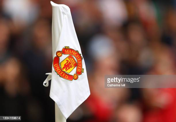 Detailed view of the Manchester United club badge on a corner flag during the Premier League match between Manchester United and Leeds United at Old...