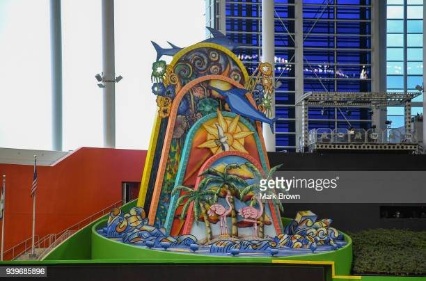 A detailed view of the Marlins home run sculpture in centerfield before Opening Day between the Miami Marlins and the Chicago Cubs at Marlins Park on...