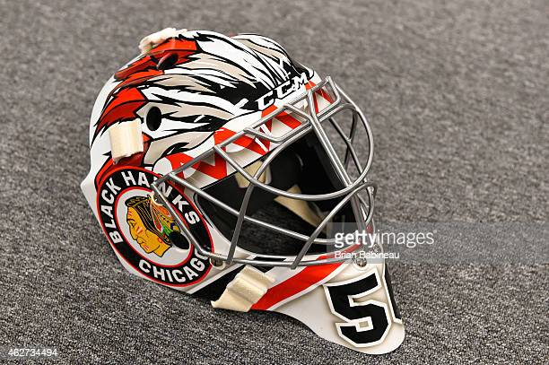 A detailed view of the mask of goaltender Corey Crawford of the Chicago Blackhawks during the 2015 Bridgestone NHL Winter Classic Build Out on...